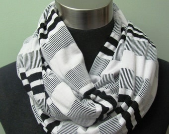 Black and White Striped Knit Infinity Scarf with Silver Thread Accent