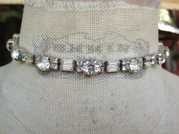 Vintage 1940s Prong set Rhinestone choker Necklace Bridal Wedding  heirloom
