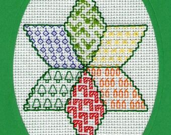 A Christmas Star cross stitch/ black work card, PDF