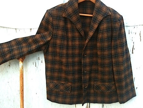 Prairie girl  rustic coffee brown russet plaid wool pendleton shirt jacket collectible retro chic rustic mountain forest wear