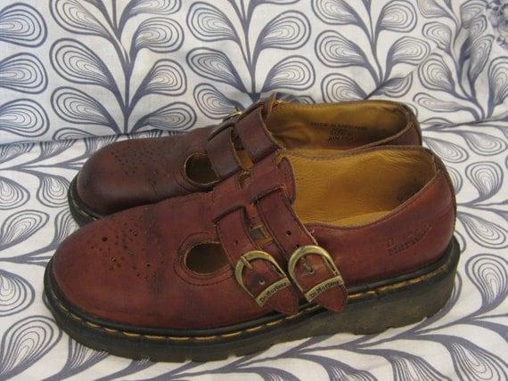 Vtg Doc Martin Mary Janes Buckle Shoes Sz Us 7 7 1 2 Uk 5