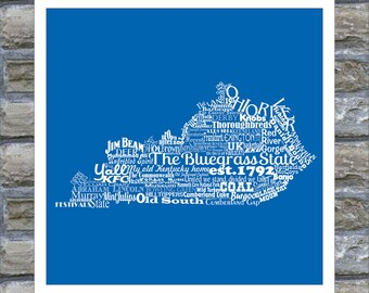 Kentucky State Word Art Typography Print The Bluegrass State Kentucky State Pride