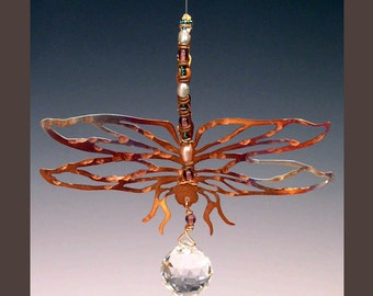 Window Hanging - Copper Dragonfly with Rainbow Prism