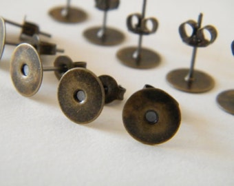 160 x Antiqued Bronze Earring Posts with Stud Backs / Nuts Pad 8mm