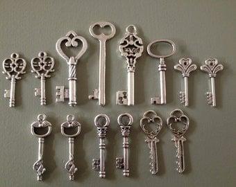 14 x Antique Silver Skeleton Key Charms Silver Vintage Key Set Skeleton Key Pendants Jewelry Making Key Charms - Keys to the Castle -