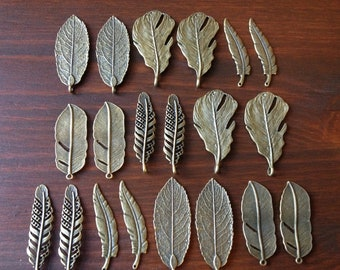 Set of 20 Antique Bronze/Brass Pendants Bronze Natural Feather & Leaf Charms Feathers Leaves (4 of each) Bronze Feather Charm Leaf Charms
