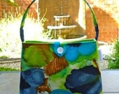Shoulder Bag - Vintage Mod Watercolor Pansies - Turquoise, Navy, Chartreuse and Rust