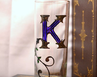 "Celtic Style Illuminiated Letter - Initial ""K"" - Handpainted 12 oz. Glass"