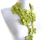 Flower Lariat Scarf, apple green scarf with crochet flower patterns , hand-made,fashion,unique