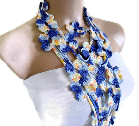 Flower Lariat Scarf, Navy blue and yellow scarf with crochet flower patterns , hand-made,fashion,gift, mothers day,unique