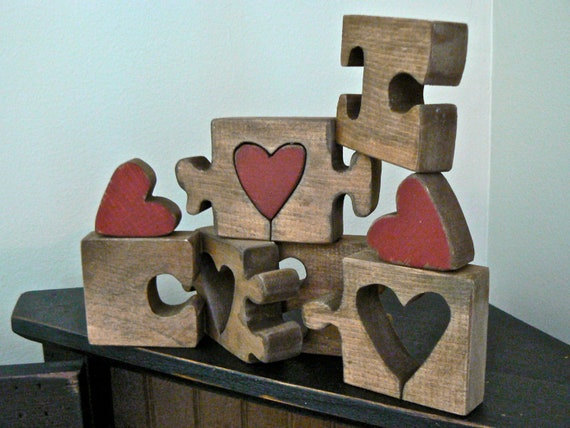 Custom for Kimberly - My Missing Piece - Rustic Desk Decor - I Love You 6-Piece Puzzle