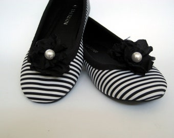 Black Ruffle Flower with Pearl Centre Shoe Clips FREE SHIPPING