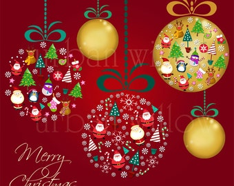 Fun Christmas Baubles - Clip art digital images for small commercial and personal use. Instant Download.