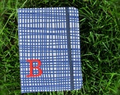 Kindle Cover Hardcover Kindle Case Kobo Cover Nook Cover Samsung Galaxy custom ereader cover Blue Crosshatch fabric, with one-letter add-on