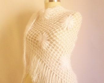 Handmade Crochet White  Shawl-Free Shipping