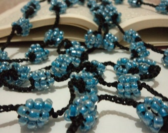 Black  and Blue colors  beaded necklace handmade gift  Beaded Crochet Necklace Beadwork accesories handmade jelvery