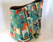 Tote Bag, Kitchen Tote Bag, Cloth Purse, Fabric Bag, Handmade Handbag, Shoulder Bag, Teal Tote Bag, Kitsch, Retro Kitchen