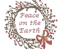 Counted Cross Stitch Peace On The Earth Twig and Berry Wreath
