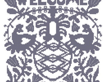 Welcome Cross Stitch Pattern/ Country Style Cross Stitch Pattern/Rooster Cross Stitch Pattern/Pineapple Cross Stitch Pattern/Digital Pattern