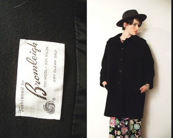 50s 60s BLACK WOOL Classic Overcoat Swing Jacket Mad Men style, Medium