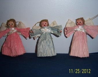Vintage Paper Mache Angel Figurines Lot Of 3 -  Handpainted Papier Mache Angel Dolls Figures Christmas Decor