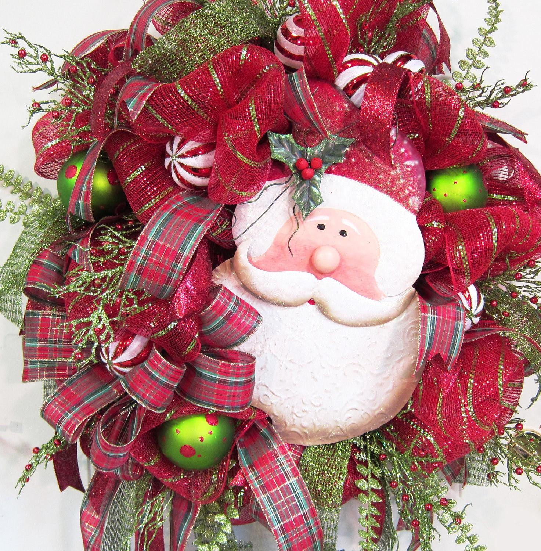 Deco Mesh Christmas Tree Wreath: Deco Mesh Santa Christmas Wreath Outdoor Wreath Holiday