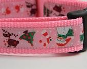"Christmas Dog Collar- Snowman, Reindeer, Trees Pink 1"" wide"