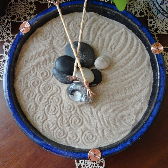 Tabletop zen garden deep blue for Table zen garden