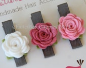 Baby Hair Clips Petite Rosebuds in Pink and White Wool Felt Baby Alligator Clips Infant Toddler Girls