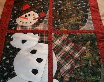 Applique Snowman in the Window Quilted Wallhanging