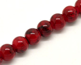 8mm Deep Red Glass Beads with Black Marbled Swirl Pattern, Rare, Hard to Find, 100 beads, bgl0752
