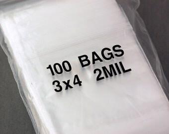100 Zipper Lock Resealable Baggies 3x4 inches, 2 mil bags bag0001