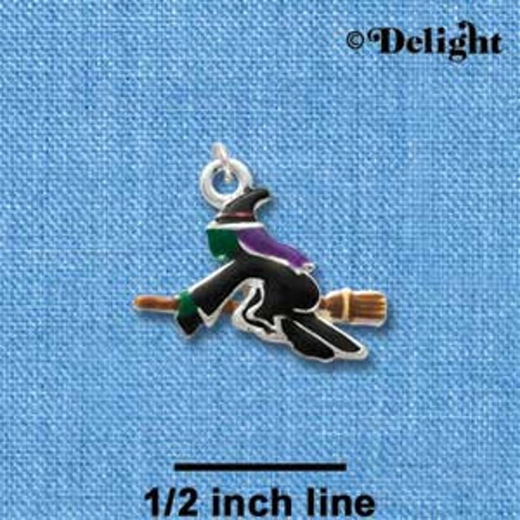 FLYING WITCH Silver Plated Enamel Charm Pendant for Halloween, Fall, Autumn che0373