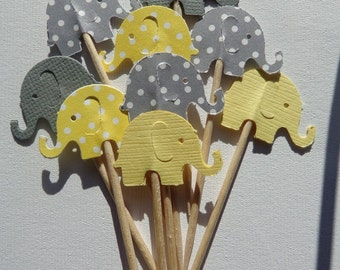 24 Grey and Yellow Elephant Party Picks - Cupcake Toppers - Food Picks