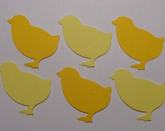 75 Mixed Yellow Chicks Die Cuts Paper Punches Scrapbooking Embellishments Confetti - Spring - Easter