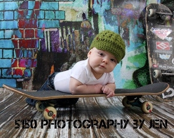 9ft x 8ft Vinyl Photography Backdrop / Grafitti Brick / EXTRA LARGE