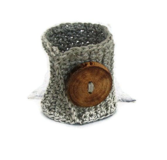 Organic linen bracelet, eco style jewelry, fashion cuff, wooden button, crochet bangle