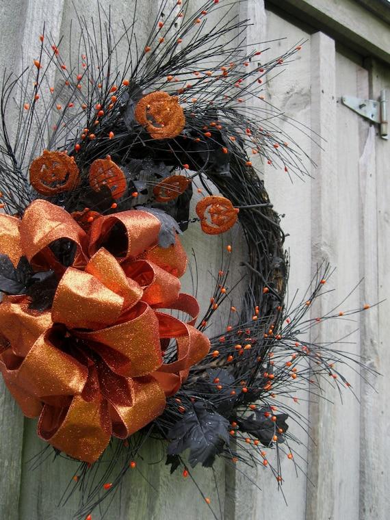 Halloween Wreath, Pumpkin Decor, Black Leaves Wreath, Door Wreath, Glittered Orange Bow