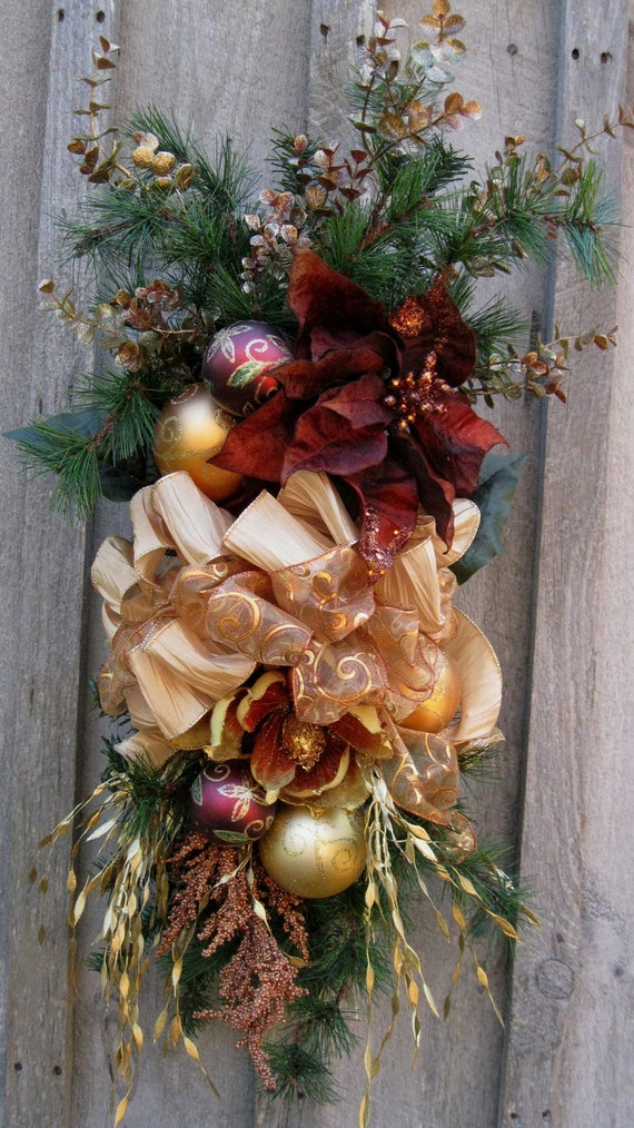 Christmas Wreath Holiday Designer Swag Woodland