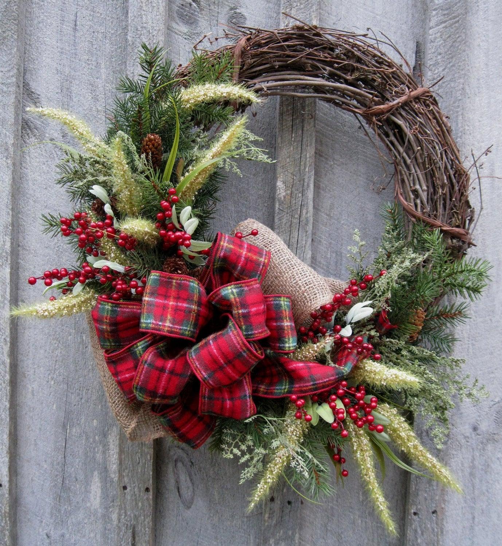 Xmas Wreath: Christmas Wreath Holiday Wreath Woodland Country Christmas