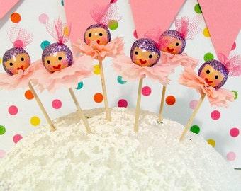 Sugar Plum Pink/Purple Christmas Cupcake Toppers