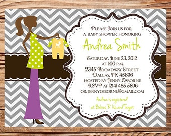Pregnant Mom to be Baby Shower Invitation, Pregnant silhouette baby shower invite, Mom to be, Chevron Stripes, Pregnant woman, 1486