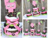 Reserved for Jaime K. Pink Hoot Owl Diaper Cake, 2-Tier Hoot Owl Diaper Cake Centerpiece