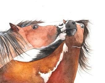 Horse watercolor painting H078 - wildlife art - print of watercolor painting 5 by 7 print, horse print, horses painting