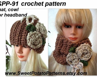 Instant Download PDF Crochet Pattern - Tawny Hat and Cowl Set SPP91 women, accessories, easy, beginner, clothing,
