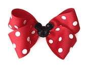 Minnie Mouse Inspired Red and White Polka Dot w/ Black Sequin Mouse on Bow on Barrette or Clip, photo prop