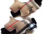 Set of Two Classic Natural Plaid Scotty Dog Hair Clippies Bows on Black Velvet Ribbon