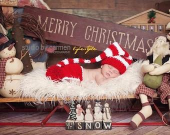 Newborn Christmas Hat, Newborn Santa Hat, Newborn Santa Hat And Diaper Cover Set,Newborn Photo Prop, Christmas Photo Prop, Red And White Hat