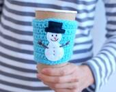 Snowman Coffee cup  cozy, Coffee Cozy, Crochet Coffee Sleeve, Reusable Coffee Cozy, Holiday Coffee Sleeve,