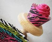 Sale Neon Zebra Paw Print Cupcake Wrappers 12 Pieces